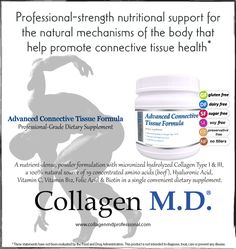 In the body, collagen production starts with the assembly of alpha-chains which are comprised of a high percentage of the amino acids proline, glycine, hydroxyproline and hydroxylysine. Collagen M.D.'s Advanced Connective Tissue Formula supplement powder provides a concentrated form of 19 amino acids with concentrations of glycine at 8X that of milk and proline at 3X that of beef.* Take 1 scoop about 20 min. before a workout and 1 scoop after a workout to support connective tissue health.*