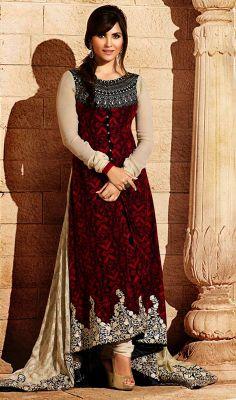 Bollywood Star Lara Dutta Georgette Long Churidar Suit Price: Usa Dollar $197, British UK Pound £116, Euro145, Canada CA$211 , Indian Rs10638.