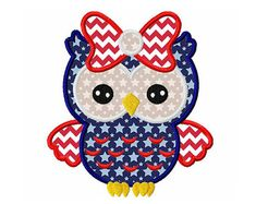 4th of July owl 034th of JulyJuly by CherryStitchDesign on Etsy