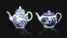 A Worcester blue and white teapot and cover and a Derby blue and white small teapot and cover, circa 1765-75 both printed in underglaze-blue, the Worcester barrel-form teapot with the 'Fisherman and Cormorant' pattern, the globular Derby teapot with Chinoiserie scenes, including the 'Boy on a Buffalo' pattern, the first with blue crescent mark,