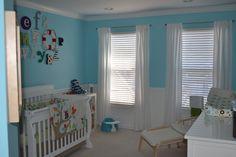 Project Nursery - aqua walls, wainscoting, white furniture! Love!!