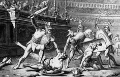 Roman gladiators fight to the death in an amphitheater in this etching.