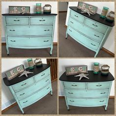 50/50 mix of Johnston Daffodil & Destin Gulf Green. The top is Kukui Stain & Finish, and the body is distressed with Aging Cream and sealed with Clear Wax #cececaldwellspaints