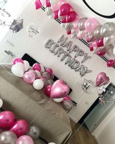 Image may contain: indoor Birthday Room Surprise, Hotel Birthday Parties, Birthday Goals, 18th Birthday Party, Birthday Party For Teens, Pink Birthday, Birthday Room Decorations, Happy Birthday Foil Balloons, Birthday Pictures