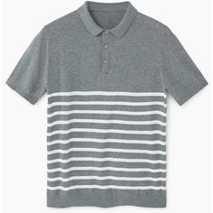 MANGO MAN Striped Cotton Polo Shirt ($40) ❤ liked on Polyvore featuring men's fashion, men's clothing, men's shirts, men's polos, medium heather grey, mens short sleeve cotton shirts, mens polo shirts, mens striped short sleeve shirt, mens cotton shirts and mens short sleeve polo shirts