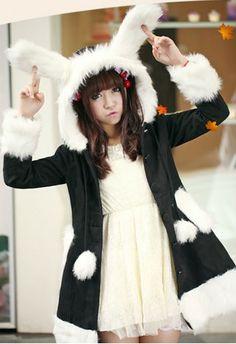 Flower lolita spot new winter lolita rabbit ears cardigan woollen overcoat Lolita Coats