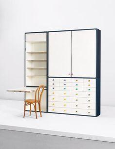 Shiro Kuramata, Unique wall unit with folding table, designed for the Ishidate Residence, Setagaya-ku, Tokyo