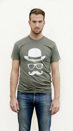 Men's TShirt  Mustache  Glasses  Bowler Hat  by KellonDesigns, $22.00