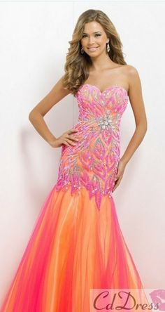 pageant dress mermaid pink coral orange strapless prom