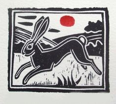 Wonderful prints of hares, trees, landscapes, Stone Henge. This one reminds me of the artwork at the start of Watership Down. Seen at Fisherton Mill Gallery in Salisbury. Soft Tattoo, Lino Art, John Walker, Linoleum Block Printing, Linoprint, Art For Art Sake, Wood Engraving, Linocut Prints, Hare