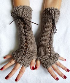 Gloves Fingerless Corset  Wrist Warmers in Light by LaimaShop, $36.00