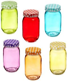 Style Setter 206240-gb Colored Glass Jars with Lids (Set of 6), Multicolor