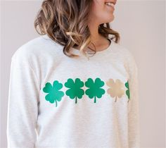 Make and wear this Four Leaf Clover Sweatshirt. Make it Now with your Cricut Explore machine in Cricut Design Space