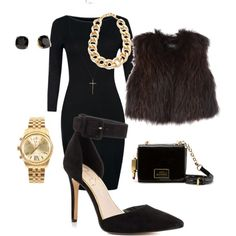 Featuring Cayna - Black Suede. Definitely without the fur vest.
