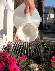 Sprout pouring tool - turn an ordinary milk jug into the perfect watering can. I want one!Sprout pouring tool - turn an ordinary milk jug into the perfect watering can. I want one! Garden Projects, Garden Tools, Diy Projects, Garden Ideas, Plastic Milk Bottles, Milk Jugs, Water Jugs, Milk Cartons, Plastic Bottle Flowers