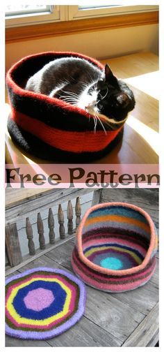 Knit Cozy Kitty Bed - Free Patterns #freeknittingpatterns #pet #catbed Knitting Patterns Free, Free Knitting, Free Pattern, Crochet Patterns, Crochet Slipper Boots, Crochet Slippers, Knitting Designs, Knitting Projects, Cat Cave