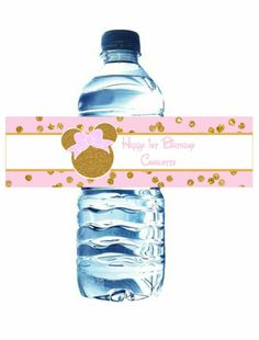 Water bottle labels, pink and gold minnie mouse birthday party