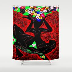 """As a child I was always dancing when I collected our flowers or my spirit was very happy shopping them!... Shower Curtain  / 71"""" by 74""""    Christa Bethune Smith, Cabsink09 (cabsink09)  She Dance Flowers by Christa Bethune Smith, Cabsink09   . $68.00"""