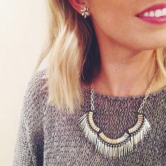 Sweaters & statement necklaces pair oh-so-perfectly. #regram from Stylist @morgansdstylist.