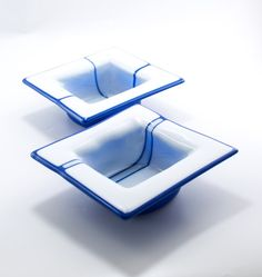 Blue and White Square Fused Glass Bowls Set of 2 by Nostalgianmore