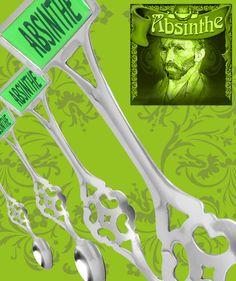 Absinthsked i rostfritt stål med Absinthmärke