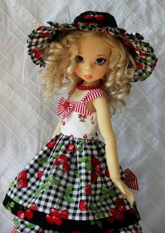 "Summer Cherries ~ OOAK Outfit for 18"" Kaye Wiggs MSD BJD ~ by Glorias Garden"