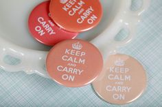 Peach 'keep calm' magnets