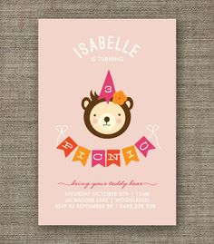 Teddy Bears Picnic Invitation for girl, 1st 2nd 3rd 4th 5th birthday - kids party invites in pdf printable via Etsy