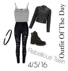 """Ootd:Rebellious Teen"" by everlastinglife on Polyvore featuring WithChic, Topshop, Lipsy and Timberland"