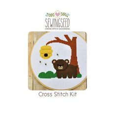 Bear Cub in the Forest Cross Stitch Kit by Sewingseed on Etsy, $22.00