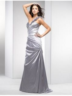 Elegant Flowers One Shoulder Pleated Silver Gray Evening Dress