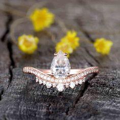 1carat Moisssanite Engagement Ring Pear SHaped | BBBGEM Pear Shaped Engagement Rings, Engagement Ring Shapes, Rose Gold Engagement, Moissanite Diamonds, Bridal Ring Sets, Pink Tourmaline, Wedding Rings, Jewels, Design