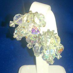 Vintage Aurora Borealis Beaded Cha Cha Earrings by BorrowedTimes