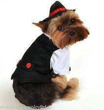 Pet Dog Cat Gangster Bugsy Malone Suit Gift Fancy Dress Costume Outfit XS-XL