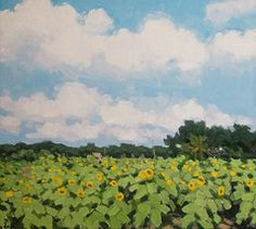 Field Of Sunflowers, 24x36 Vietnamese actual original oil painting on canvas -  $139.00.  http://www.bonanza.com/listings/Field-Of-Sunflowers-24x36-Vietnamese-actual-original-oil-pa/36756693