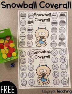 FREE Monster Snowball Coverall - work with numbers 1-20! Kindergarten Math Games, Preschool Math, Math Classroom, Fun Math, Teaching Math, Math Activities, Maths, Winter Activities, Future Classroom