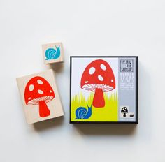Yellow Owl Workshop Mushroom and Snail Rubber Stamp Set by OHMYBUY, £12.99