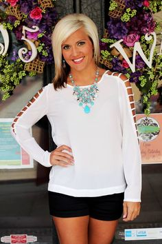 Teagan Blouse $26.99 (also available in black) | 105 West Boutique (Abbeville, SC)