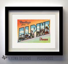 Alpine Texas Vintage Postcard Print