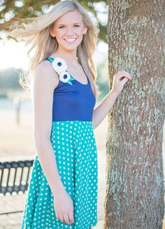 Judith March Tank Top Dress With A Polka Dot Skirt