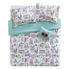Comfort Spaces Girls/Boys Bedding Twin Size - Paco, Cats, Eiffel Tower 3 Piece Cute Toddler/Kids Comforter Set - Aqua - Hypoallergenic Microfiber - All Season
