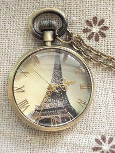 Paris clock watch necklace