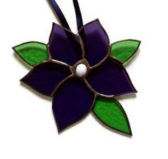 Deep purple flower sun catcher