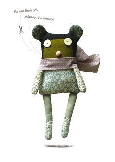 Image of Fortuné l'ours gris/kit doudou
