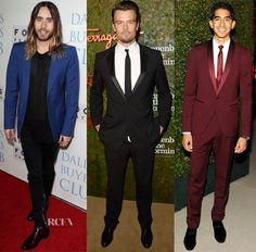 Dev Patel oxblood 3 piece suit. Well played Dev, well played.