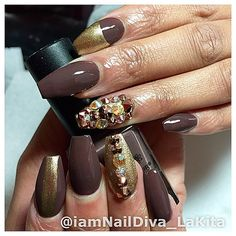 Chocolate and gold coffin nails with gemstones