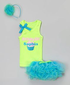 Loving this Lime & Turquoise Personalized Tutu Set - Infant, Toddler & Girls on #zulily! #zulilyfinds