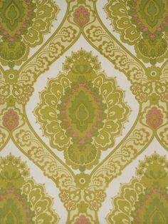 Vintage Green Baroque Wallpaper