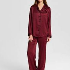 Satin Pajamas Set NWT Women's sleep Satin Pajama Set in luscious berry color highlighted by sweet piping all along the collar and button front pocket sleeves and pants cuffs. 2 pieces. Very soft! Gilligan & O'Malley for Target Intimates & Sleepwear Pajamas