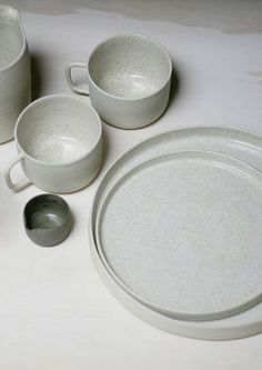 Ghost Wares handmade in Melbourne ceramic white speckle platter, mug and olive milk jug.